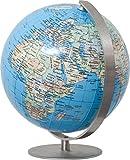 COLUMBUS DUO: Miniglobus, handkaschiert, politisch, unbeleuchtet, 12 cm Durchmesser, Fuß und Meridian edelstahl, ting-kompatibel, TING: Informationen über Bevölkerungszahlen und Hauptstädte