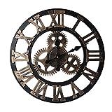 Babimax Holz 3D Wanduhr Vintage Industrie Wanduhr 40CM Ø - kein nerviges Ticken Dekoration für Wohnzimmer Esszimmer Küche Halle (Golden)