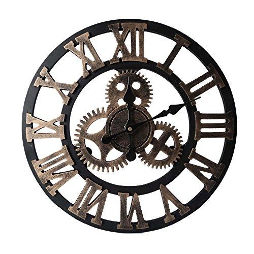 Babimax Reloj de Pared Estilo Vintage Industrial con Números Romanos Ultra Silencioso Perfecto para Oficina, Dormitorio, Estudio(Dorado)