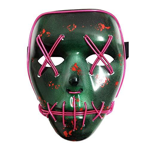 Forart Halloween Scary Maske Cosplay Led Kostüm Maske EL Draht leuchten Halloween Festival Party für Männer Frauen Erwachsene Jungen (Für Halloween-kostüm Scary Jungen)