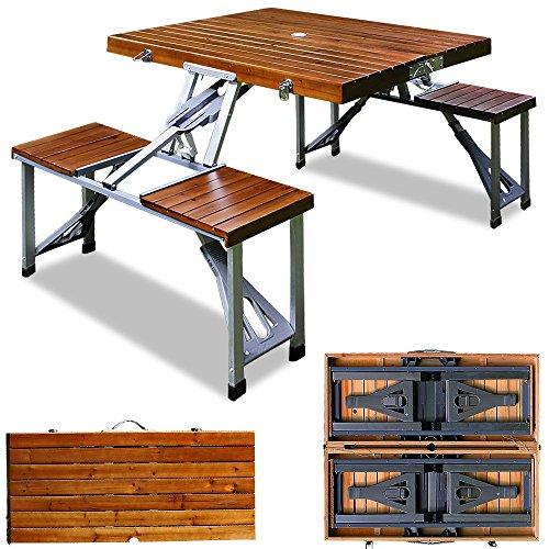 Deuba Alu Campingtisch mit 4 Stühlen I Tischplatte Holz I Koffertisch I Klappbar I Faltbar Campingmöbel Sitzgruppe Set