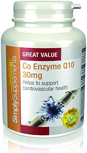 """Koenzym Q10 30mg - 360 (2 x 180) Kapseln - Versorgung für bis zu 1 Jahr - Im Volksmund als""""Zündkerze"""" des Körpers bekannt - Simply Supplements"""
