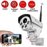 Luowice drahtlose PTZ IP Kamera WiFi Überwachungskamera 1080p optischem 4-fach Zoom HD-Auflösung 100ft IR-Nachtsichtreichweite ONVIF 2.0 für Indoor und Outdoorverwendung vorinstallierte 32GB SD-Karte