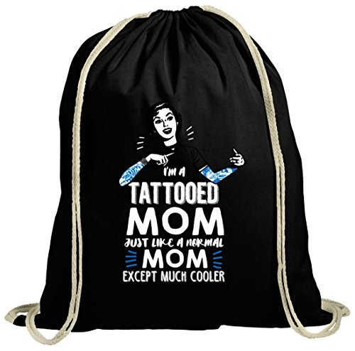 Muttertag natur Turnbeutel mit Tattooed Mom Motiv von ShirtStreet schwarz natur