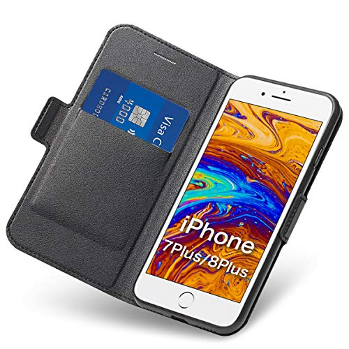 iPhone 8 Plus Hülle iPhone 7 Plus Schutzhülle iPhone 7 Plus Hülle Leder Wallet Tasche Flip Case PU + TPU Soft Shockproof Flip-Cover und Ständer mit Kartenhalter (Schwarz) (Case Iphone Supreme 4)