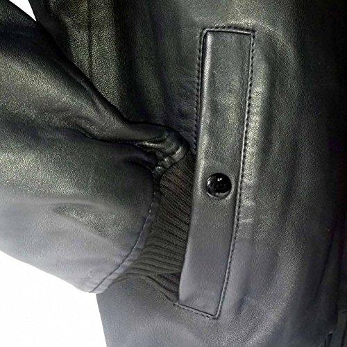 Alpha Industries MA-1 VF PM Leather ist eine Bomberjacke aus schwarzem Lammnappa Leder, ist komfortabel mit Multifunktionstasche starke Strickbündchen winddicht diagonale Aussentaschen neu original - 4