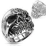 Timando - Anello da uomo a forma di teschio, in acciaio INOX massiccio, stile gotico e argento-colori, 59 (18.8), colore: argento, cod. 285-2335