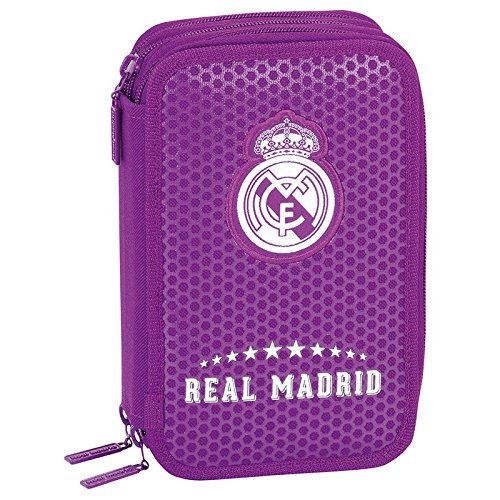 Real Madrid FC Plumero Triple con 41 Piezas, Color Morado (SAFTA 411677057)