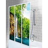 SHIRT-TO-GO 3-teiliges Aufkleber-Set für Duschwand Duschwand Aufkleber - Motiv Wasserfall