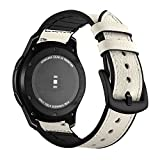 Für Samsung Gear S3 Frontier Armband Galaxy Watch 46mm Leder,Uhrenarmband 22mm Gear S3 Frontier Armbänder Samsung Gear S3 Echte Leder+Silikon Lederarmband Ersatzband Gear S3 Classic Sport Band Herren