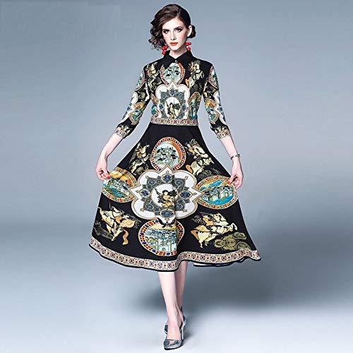 QUNLIANYI Abendkleid Kleid Runway Kleid Frauen Turn Down Kragen 3/4 Ärmel Vintage Gedruckt Kleid Schlanke Shift Lange Kleider L (Shift-kleid Perlen)