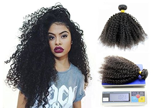 Greemeo extension capelli veri ricci corto umani brasiliani naturali riccio ondulato remy kinky curly donna afro weave 100g 1 bundle (16 pollice/40cm, natural colour)