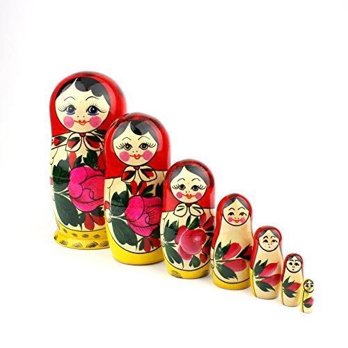 Heka Naturals Matryoshka muñecas de anidación Rusas Semenov Classic Babushka Hechas a Mano en Rusia 7 Piezas de 18 cm Regalo de Madera Superior Rojas
