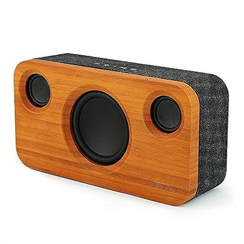 Enceinte Bluetooth ARCHEER Haut-Parleur 25W en Bambou Enceinte Améliorée pour la Maison avec Boomer Graves et Son Stéréo Huat Parleur Canaux 2.1 de 10W et 15W Subwoofer, Design à la Mode