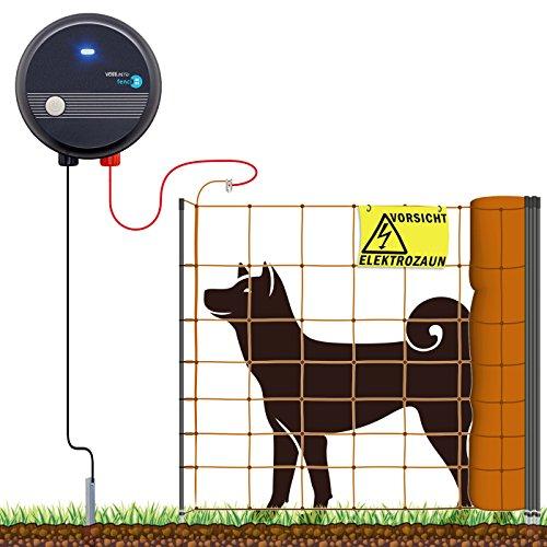 VOSS.farming 50m Hundezaun Komplettset Orange für mittelgroße Hunde | Weidezaungerät Elektronetz Erdanschlussset Warnschild Reparaturset | Garten Hütesicherheit Elektrozaun Hundezaun Hund