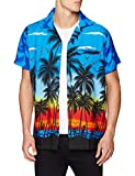 V.H.O... | Funky Hawaiihemd | Herren | Kurzarm | Front-Tasche | Hawaii-Print | Strand Palmen Meer