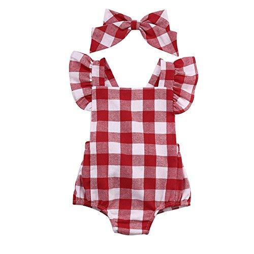 Covermason Bebé Niña Algodón Bowknot Enrejado impresión Mono Bodies (18-24M, Rojo)