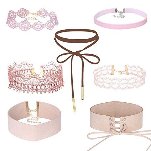 Tpocean 7 Stück Rosa Spitze Choker Halskette Set Gotisch Blumen Tätowierung Dicke Halskette Halsketten für Frauen Mädchen ()