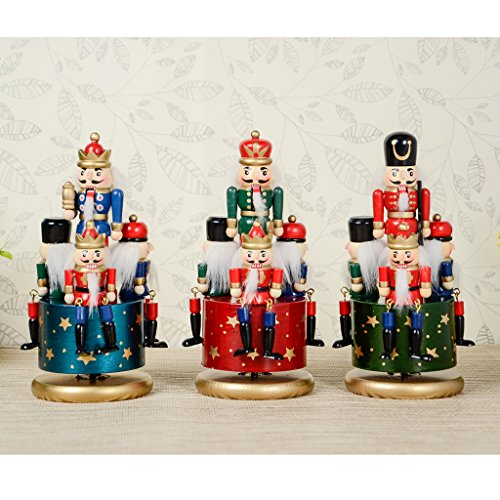 CUTICATE Exquisite Bemalte Hölzerne Nussknacker Soldat Spieluhr Wickeln Spielzeug Wohnkultur Kind - Rote Basis