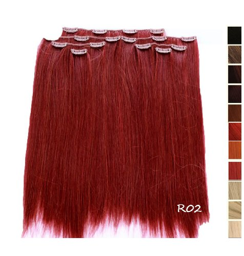 Prettyland - K170 7 teilig 50cm Clip-In glatt Haarteil Extension - R02 Rot