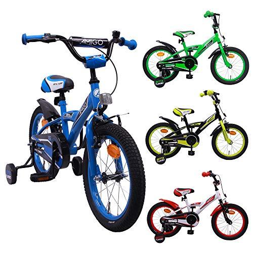 AMIGO BMX Turbo - Kinderfahrrad - 16 Zoll - Jungen - mit Rücktritt und Stützräder - ab 4 Jahre - Blau