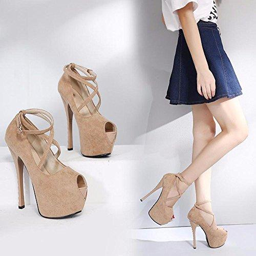 GTVERNH-albicocca hentian alte scarpe super sexy scarpe col tacco alto con night esibizioni volgare modelli impermeabile scarpe,40 Thirty-seven