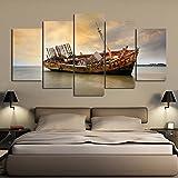 mmwin Canvas Art HD Impreso Wall Art 5 Panel Barco de Pesca por Sunset Sea Beach Fotos para la Sala de Estar Vintage Poster Decor