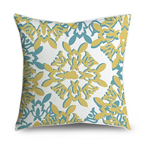 che Damask Teal Gelb Quadratisch Accent dekorativer Überwurf-Kissenbezug 18x 18 ()