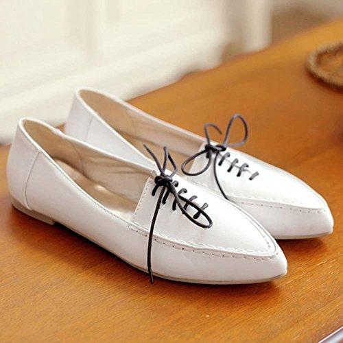 COOLCEPT Damen Mode-Event Girls Fashion Flach Schule Geschlossene Ballerinas Pumps White
