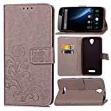 Guran® PU Ledertasche Case für Doogee X6 / X6 Pro Smartphone Flip Cover Brieftasche und Stent Funktionen Hülle Glücksklee Muster Design Schutzhülle - Grau