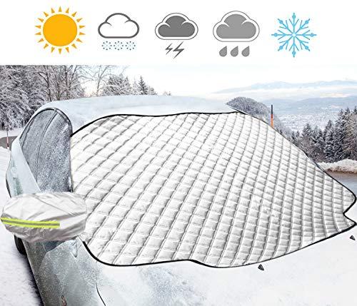 Korostro Auto Copertura Parabrezza, Copriauto per Parabrezza Anti-Neve Impermeabile Auto Copriparabrezza Anti-Gelo Inverno Anti-Ghiaccio Copri Protegge Adatto, 183 * 116cm