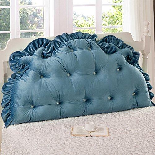 MMM- Coussin de lit de dossier de lit 1.5m / 1.8m grand coussin d'oreiller de noyau de coton perlé de douille ( Couleur : Bleu saphir , taille : 120*85cm )