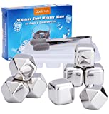 Reusable Whisky Stones Rocks - Qoolivin 2017 New 8 Piece Metal Ice Cubes Stainless Steel Whiskey Ice Cubes Novelty Gift for Men for Wine and Drink with Nonslip Rubber End Ice Tongs and Ice Cube Tray