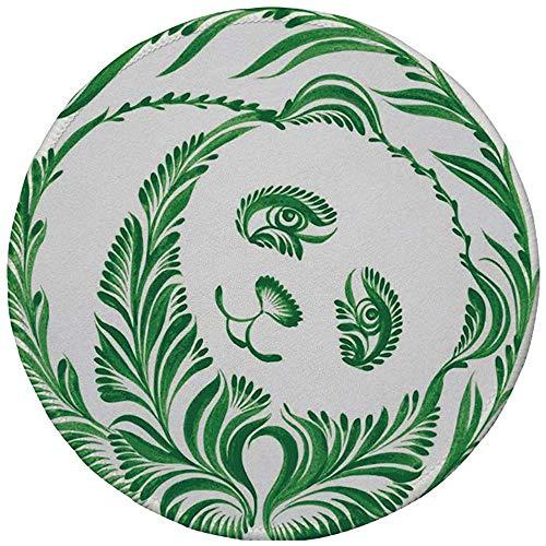 Runde Gummimausunterlage, Moderne, ukrainische Volkskunst-Keramik-Fliese spornte Pnada-Bären-gekennzeichnete Laub-Illustration, Hu-nter Grün an