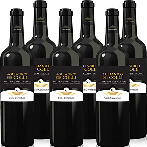 Aglianico del Vulture Doc | Colli Ceretino | Vino Rosso della Basilicata | Eccellenza Lucana | Confezione 6 Bottiglie 75 Cl | Idea Regalo