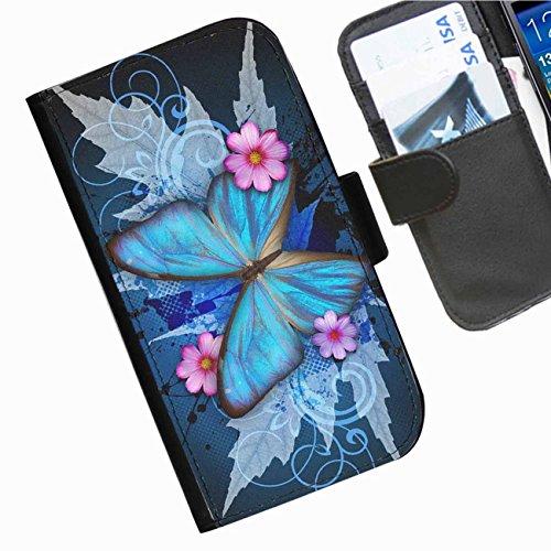 Hairyworm- Schmetterlinge Apple Iphone 3G, 3Gs Leder Klapphülle Etui Handy Tasche, Deckel mit Kartenfächern, Geldscheinfach und Magnetverschluss. Iphone 3g Leder-etui