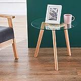 GOLDFAN Tavolino Moderno Rotondo in Vetro Tavolino da Salotto Trasparente Tavolini Laterali del Divano Tavolini di Design con Gambe in Legno di Faggio per Mobili da Ufficio (50 * 50 * 45 cm)