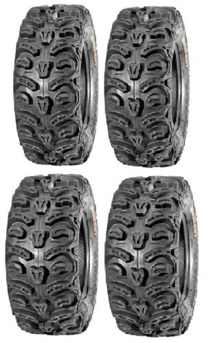 Full set of Kenda Bear Claw HTR Radial (8ply) 25x8-12 and 25x10-12 ATV Tires (4) by Powersports Bundle