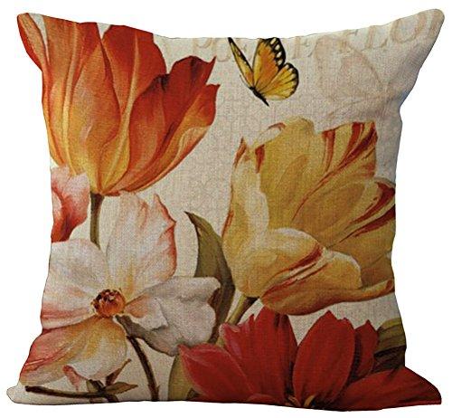 ChezMax misto lino naturale cuscino motivo floreale in cotone federa copricuscino 45,7x 45,7cm, Orange Flowers, WITH FILLER