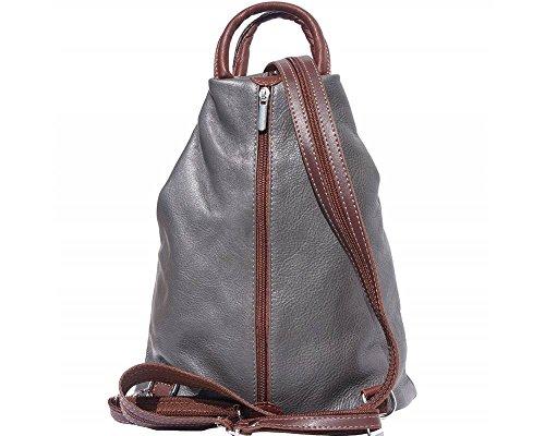 Florence Leather  207, Damen Rucksackhandtasche schwarz, Bordeaux & Tan (mehrfarbig) - 207 Grey & Brown