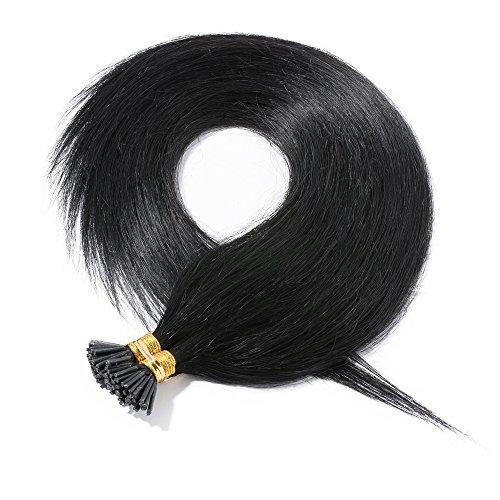 100 estensioni capelli veri con cheratina ciocche 55cm #1 jet nero - 100% remy human hair extension keratina i tip capelli lunghi lisci