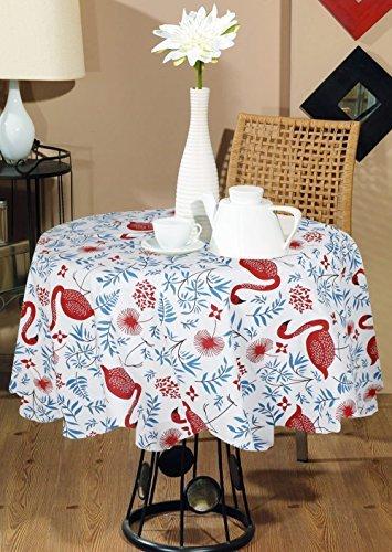 Tondo nozze 100% cotone animale della stampa indiana stampata moderna copertura tavolo tovaglia rotonda grande rosso blu -dia 140 cm