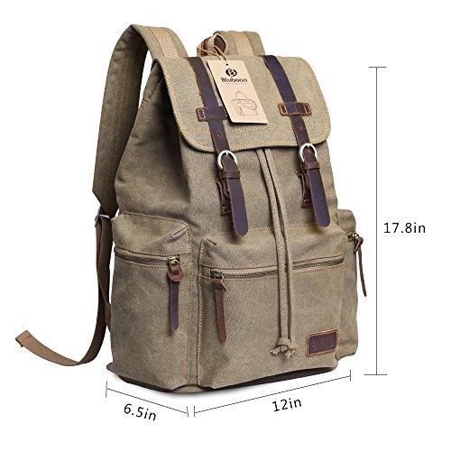 Imagen de bluboon vintage  de lona para hombre/mujer casual backpack canvas rucksack marrón  alternativa