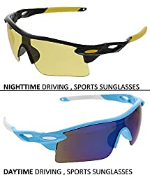 Vast Combo Of 2 Fashion All Day And Night Vision Biking, Driving And Sports Unisex Sunglasses (COMBO_9181C1BLKYELLOW_9181C15BLUEMIRROR)