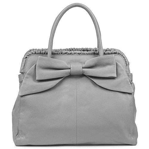 Nappa Leder Schulter Tote (BACCINI Handtasche MILANO - Henkeltasche - Damentasche mit eleganter Schleife - echt Leder grau)
