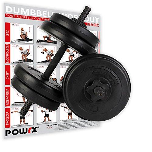POWRX - Manubri Pesi 20 kg Set (2 x 10 kg) + PDF Workout (Nero)
