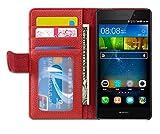 Cadorabo Hülle für Huawei P8 LITE 2015 - Hülle in Inferno ROT – Handyhülle mit 3 Kartenfächern - Case Cover Schutzhülle Etui Tasche Book Klapp Style