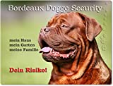 Warnschild - Schild aus Aluminium 20x30cm - Motiv: Bordeaux Dogge Security ( 01 )