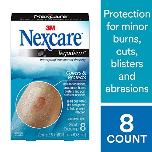 Nexcare Tegaderm Verband, wasserdicht, transparent, flexibel und atmungsaktiv, nach medizinischen Einschnitten, 5,7 x 6,7 cm, 8 Stück -