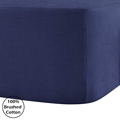 "100% Brushed Cotton Flannelette 40CM/16"" Extra Deep Fitted Sheets in 14 Colours, Double - Navy Blue"
